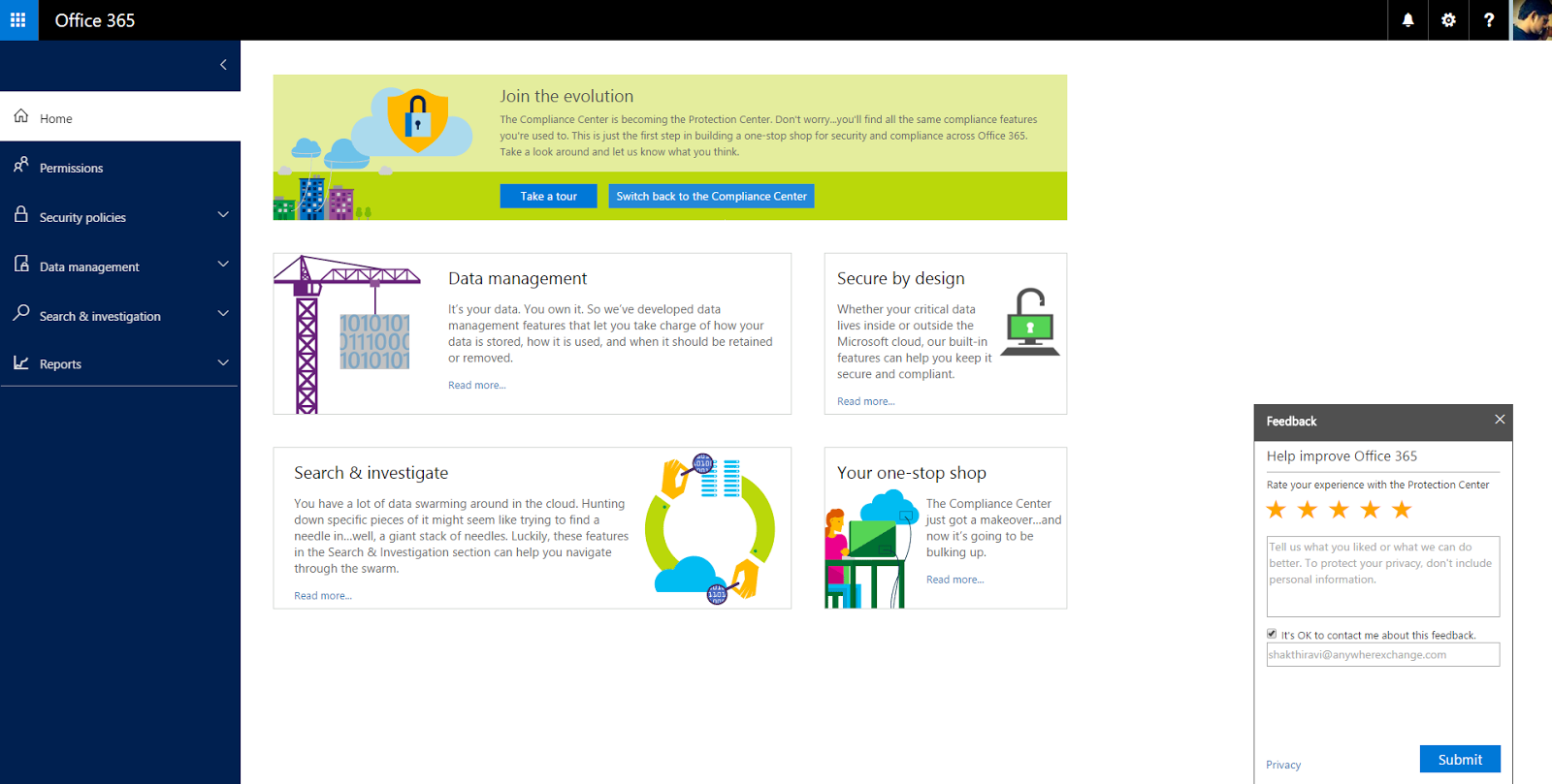 Exchange anywhere office 365 protection center is now office 365 security compliance center - Formation administration office 365 ...