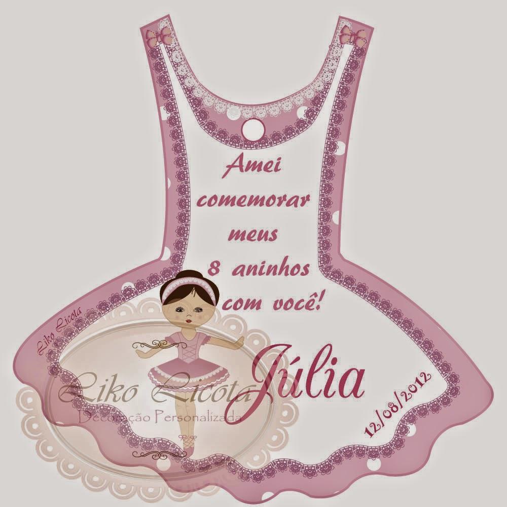 rótulos personalizados bailarina rosa com branco
