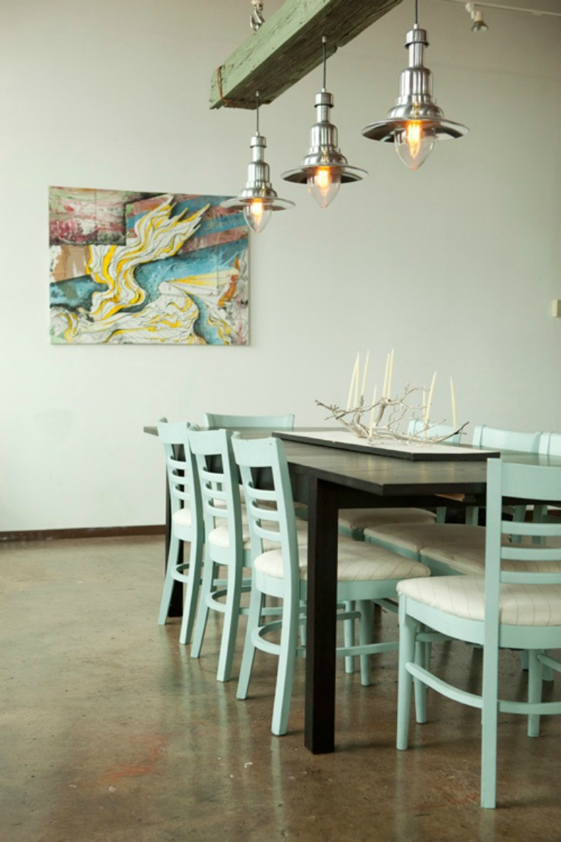 coastal nautical pendant lights over table in seafoam green dining room