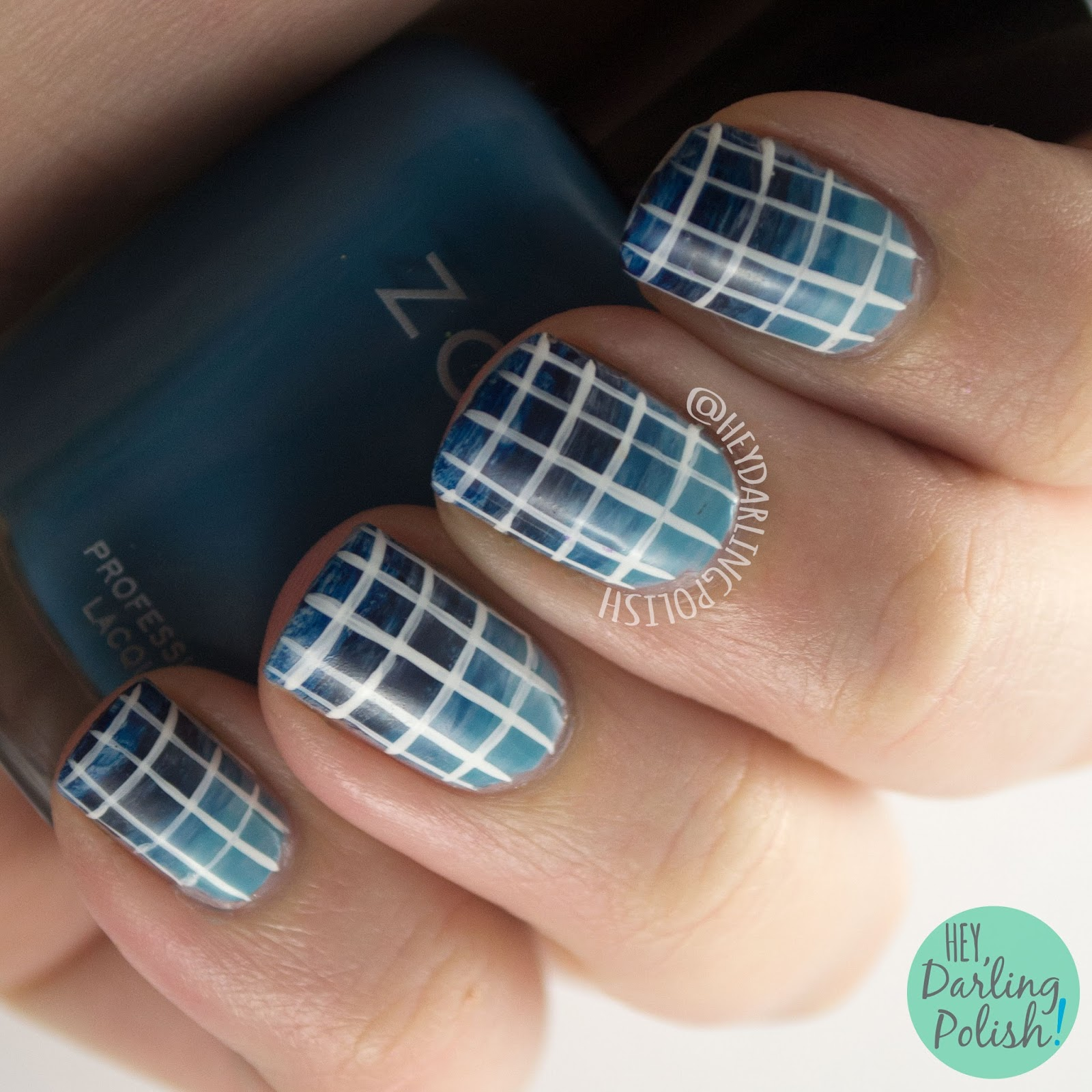 nails, nail art, nail polish, blue, gradient, grid, 31dc2015, hey darling polish,