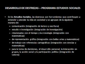 Destrezas PROGRAMA ESTUDIOS SOCIALES