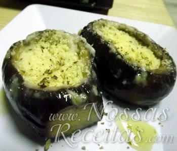 receita de Mini Berinjela Recheada com Creme de Queijo para o almoço