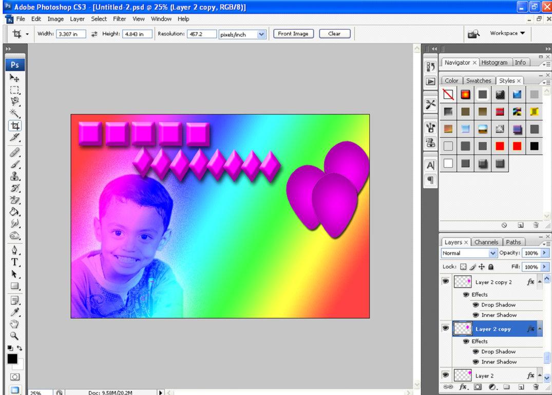 Membuat kartu ucapan ulang tahun untuk anak -anak dengan photoshop