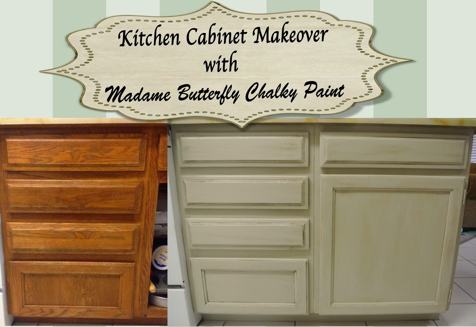 Madame butterfly chalky paint kitchen cabinet makeover for Antiquing painted kitchen cabinets