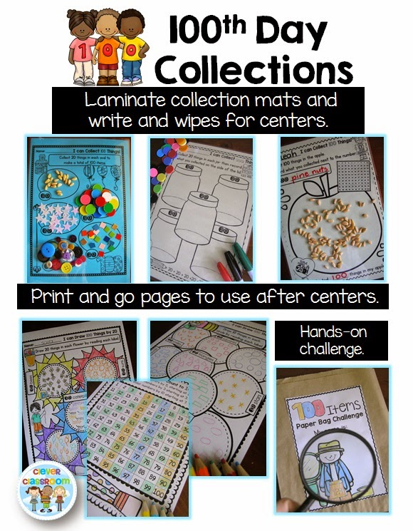 100th Day of School Printables, centers and a free file