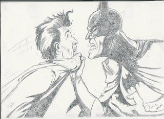 Batman quase batendo no cara (desenho)