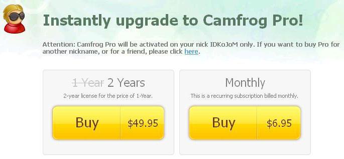 Upgrade Camfrog Pro 2 Tahun