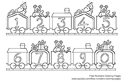 Number Train Coloring Page