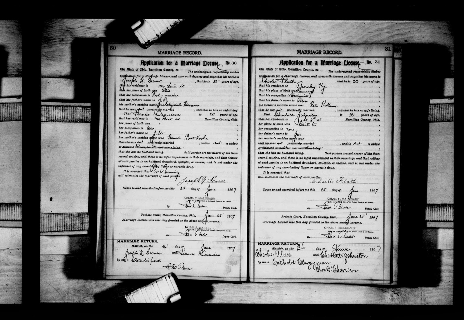 Genea musings 100613 here is the record for the marriage of joseph n seaver and frances dunican in hamilton county ohio on 26 june 1907 aiddatafo Choice Image