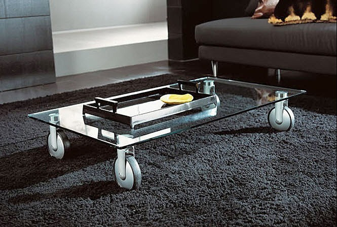 Marzua mesa de cristal con ruedas - Mesas de centro de cristal ...