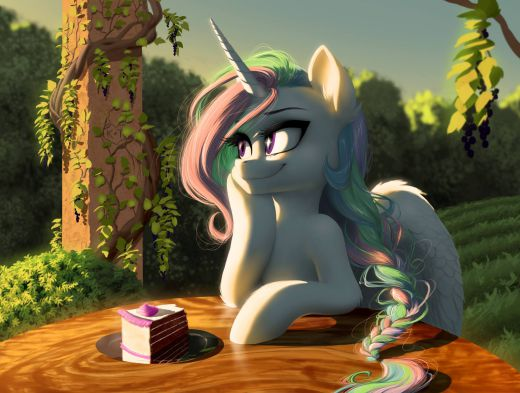 Princess Celestia watches the sunset.