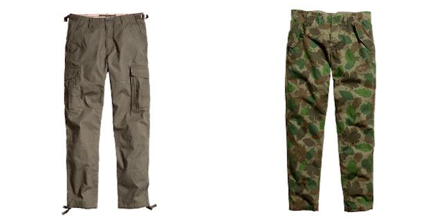pantalon cargo marron y camuflaje
