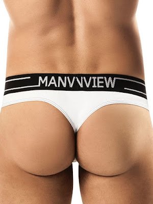 ManView Stretch Cotton Spectrum Thong Underwear White Back Gayrado