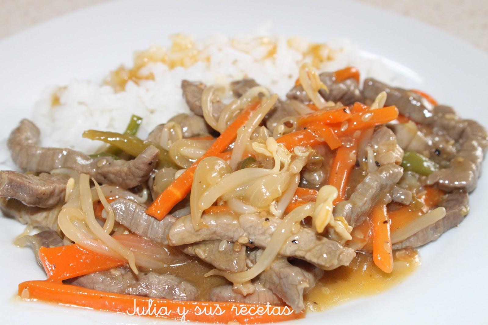 Julia y sus recetas ternera con brotes de soja comida china for Preparar comida