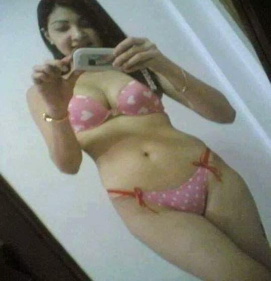 Indian Girl In Bikini In Bathroom Taking Pictures