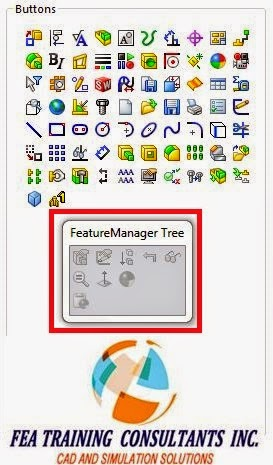 feature manager design tree toolbar