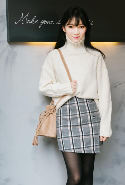 Check Asymmetrical Hem Mini Skirt