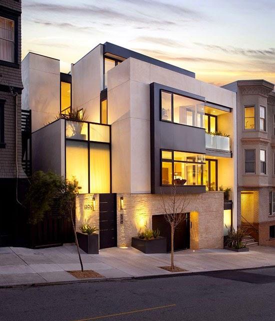 Fasad Rumah Minimalis Lantai 2 Perpaduan Warna Putih Dan Texture Batu
