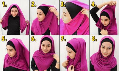Tutorial Gambar cara memakai Hijab Modern dan Simple