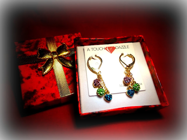 GIVEAWAY - A TOUCH OF DAZZLE Gold Plated Dangling Triple Heart Shamballa Children's Earrings in Multi Colors with Leverback