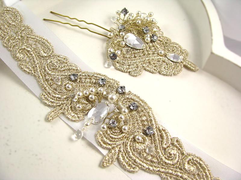 Dodatki ślubne z perłami i kryształkami