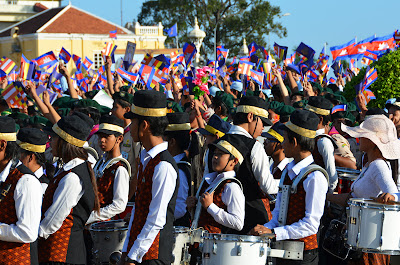 Cambodian high school band at birthday celebration for King Sihanouk