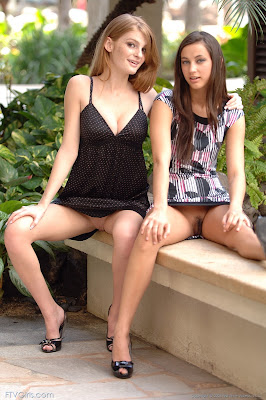 Cute Teens Larysa and Faye With No Panty In Public And Then Goes Totally Nude HQ Photos