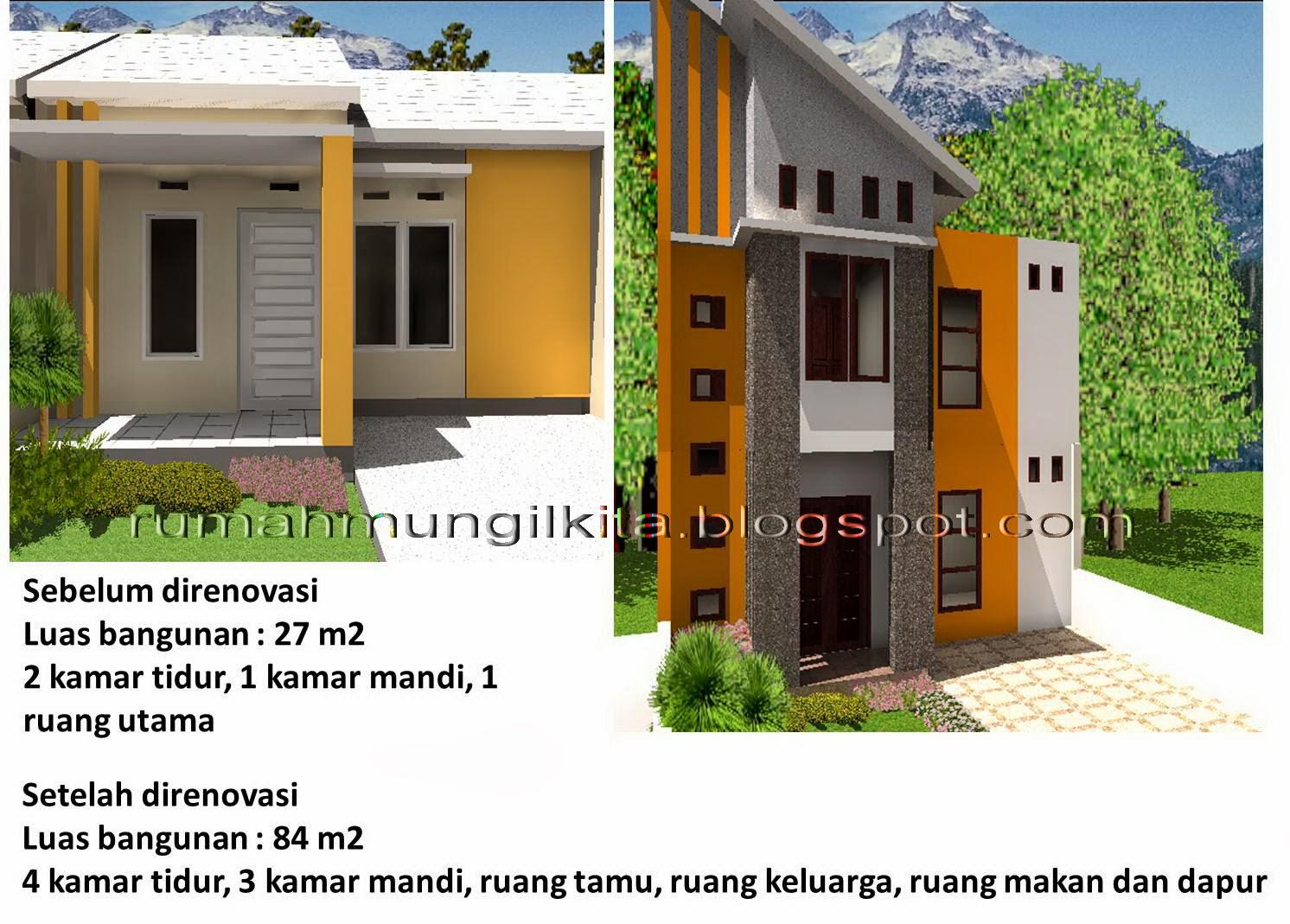 renovasi rumah tipe 27 tanah 72 2 lantai 4 kamar tidur