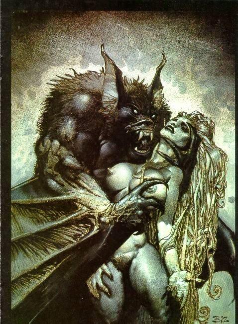 Dessin de Simon Bisley représentant une femme voluptueuse nue attrapée par une chauve souris géante