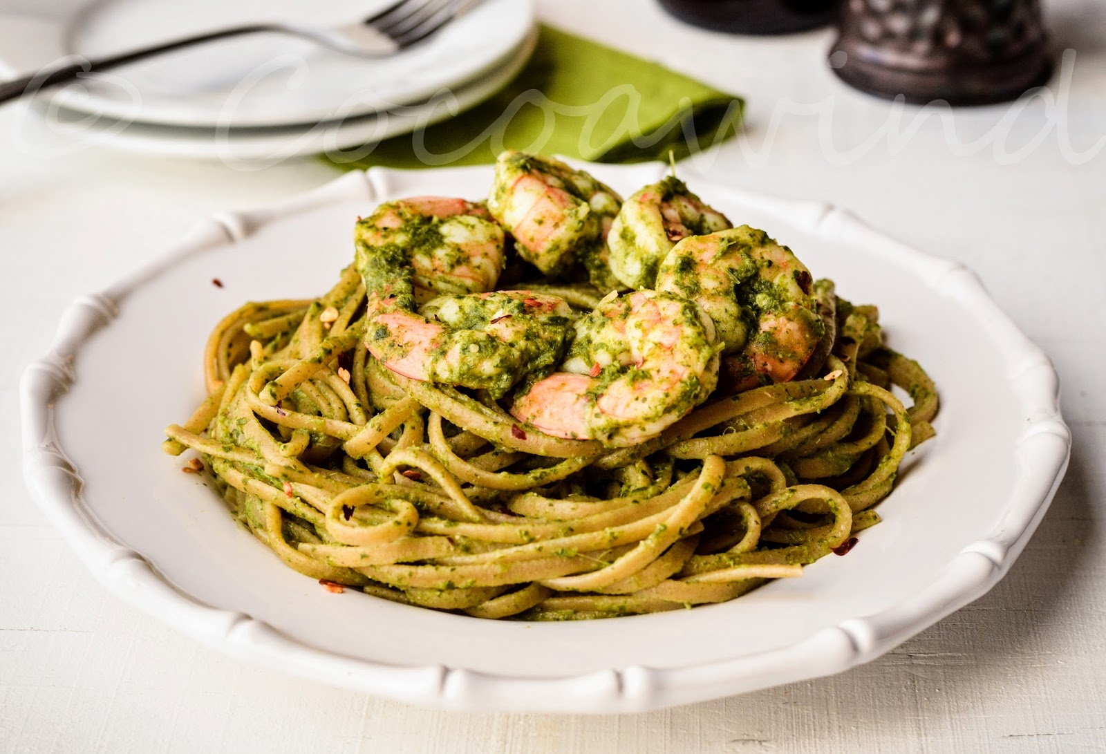 Linguine with Spinach Pesto and Shrimp