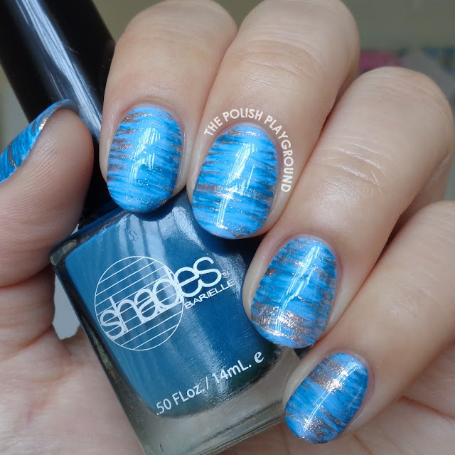 Dark Blue and Rose Gold Haze Nail Art