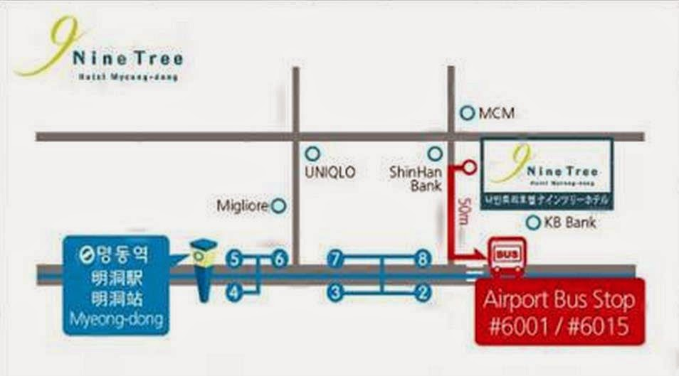 New Location Of Myeongdong Station For Airport Shuttle Bus 6015 And 6001 Effective 19 September 2017