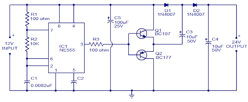 NE555 Voltage doubler circuit