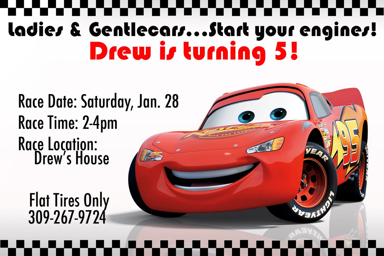 it s a boys world ladies and gentlecars i took inspiration from the images i found after googling lightening mcqueen party invitations and was able to use photoshop to create my own