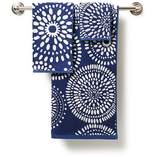 Navy Blue And White Bath Towels