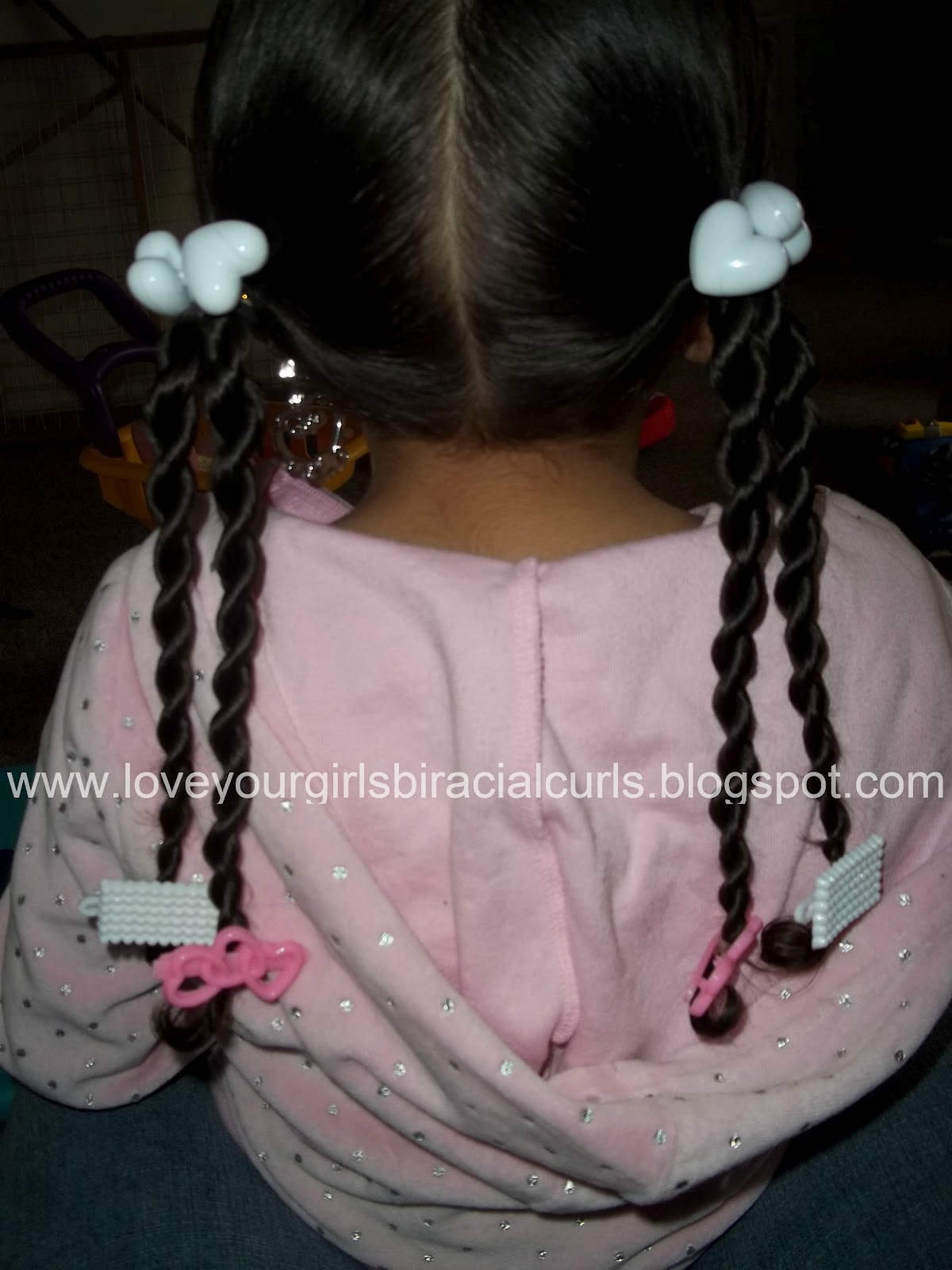 Pig Tails With 2 Strand Rope Twists And Barrettes