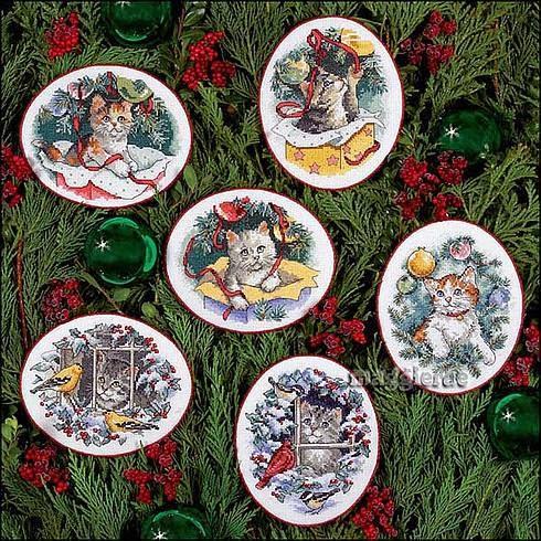 Kitty keepsake ornaments cross stitch pattern