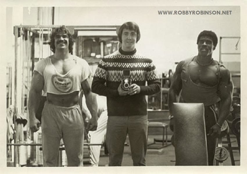 DENNY GABLE AND ROBBY ROBINSON AT GOLD'S GYM TRAINING AND FILMING OF PUMPING IRON ● www.robbyrobinson.net/dvd_built.php ●