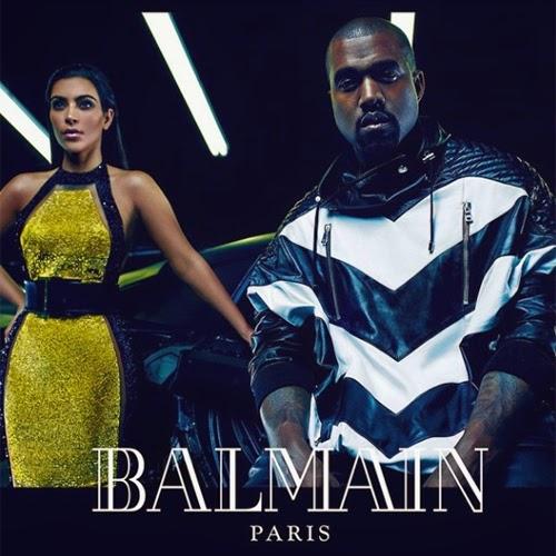 Campanha de moda masculina Primavera Verão 2015 da Balmain com Kim Kardashian e Kenye West