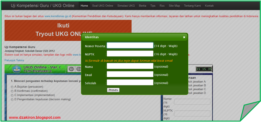 Mencicipi Simulasi Ukg Online Dzakiron Inside