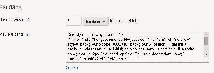 Cài đặt mẫu bài đăng cho blogspot