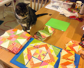 Suzi the cat helps out with Celtic Solstice Mystery Quilt