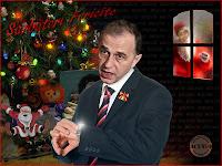 Funny postcard Mircea Geoana Victor Ponta Mos Craciun