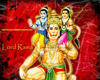hanuman with lord Rama and lakshmana on his shoulder