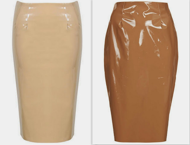trend PVC midi skirt, pale baby pink pvc skirt, pastel pvc skirt, beige and camel pvc skirt, red and black pvc skirt, purple and baby blue pvc skirt, trends spring 2014