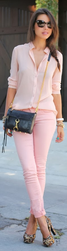 Pink Long Sleeve Chifon Shirt With Pink Jeans And Leopard Heel