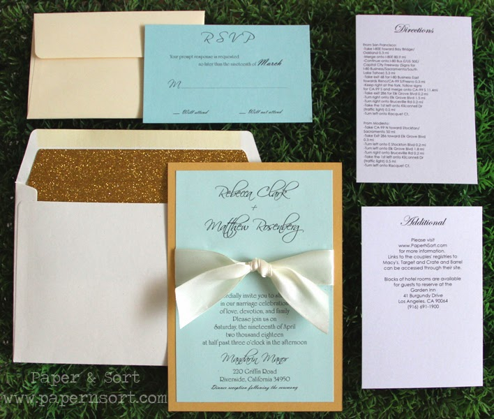full set wedding invitation in mint ivory gold with gold glitter envelope liner