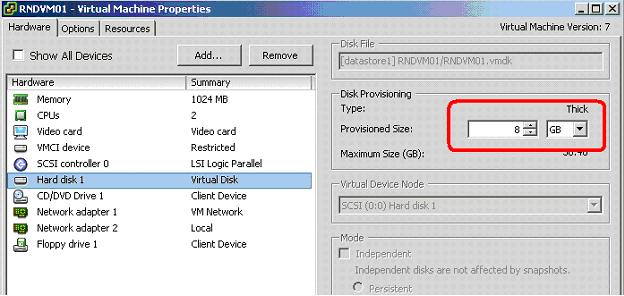 how to increase the drive size in vm ware