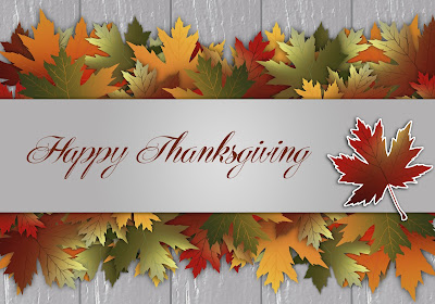 images of fall multi-colored leaves with Happy Thanksgiving saluation