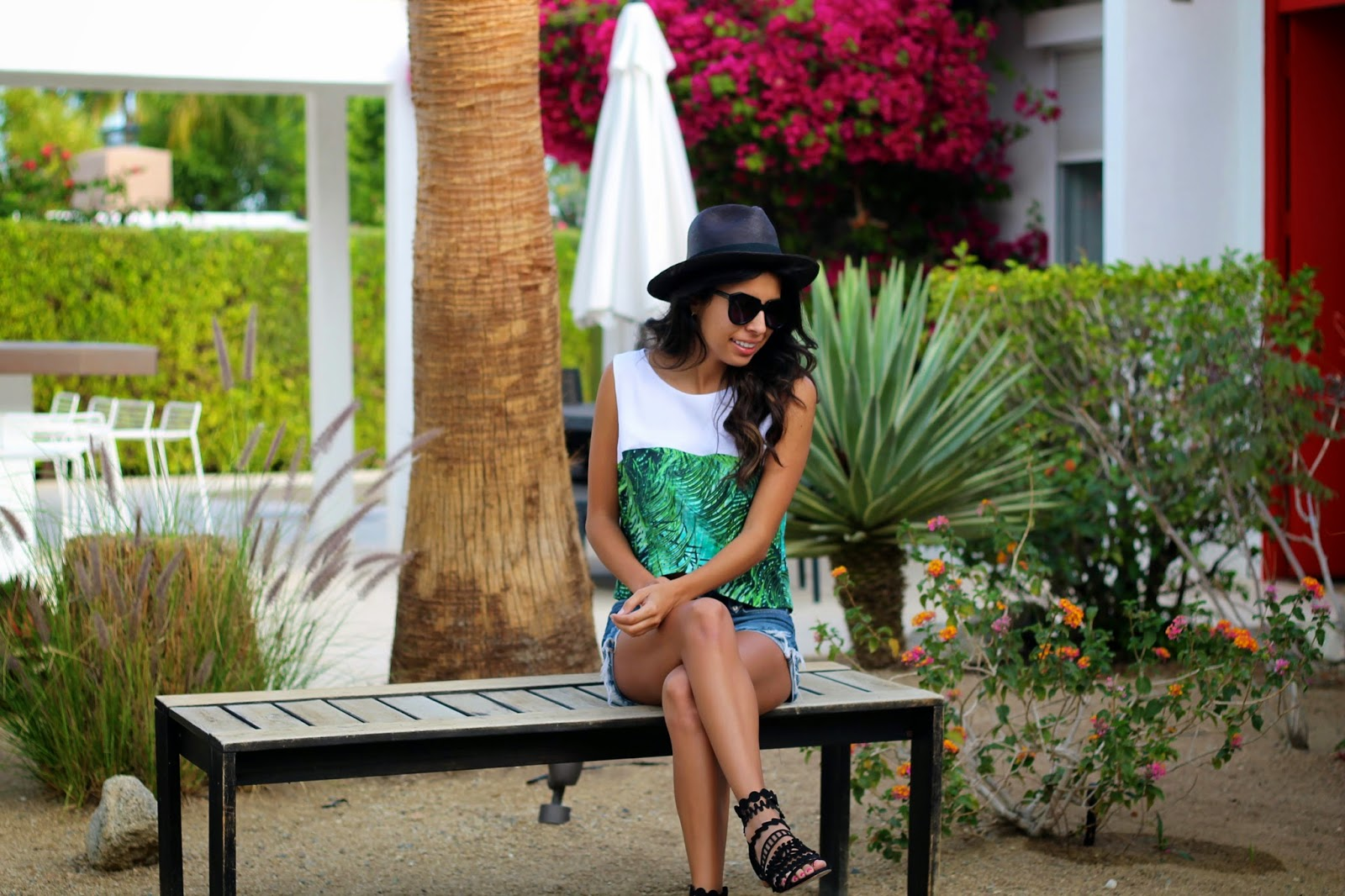 palm print top, palm desert outfit, loeffler randall sandals, vacation outfit,